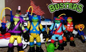 Teenage Mutant Ninja Turtles Mutagen Ooze figures wearing the Retro Real Ghostbusters equipment