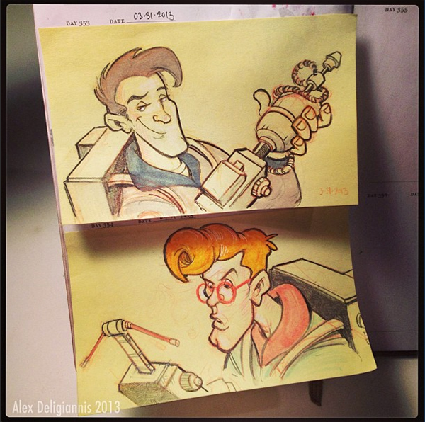 FAN ART: NICKELODEON ARTIST ALEX DELIGIANNIS DRAWS UP THE REAL GHOSTBUSTERS