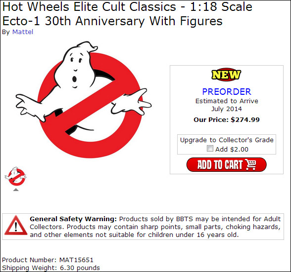 "Mattel to rerelease 1:18 scale Ecto-1 + advertised to include ""figures""?!"