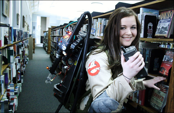 """Bustin' at the Library"" photo shoot featuring model Maeghan Eyre (Gallery 1/3)"
